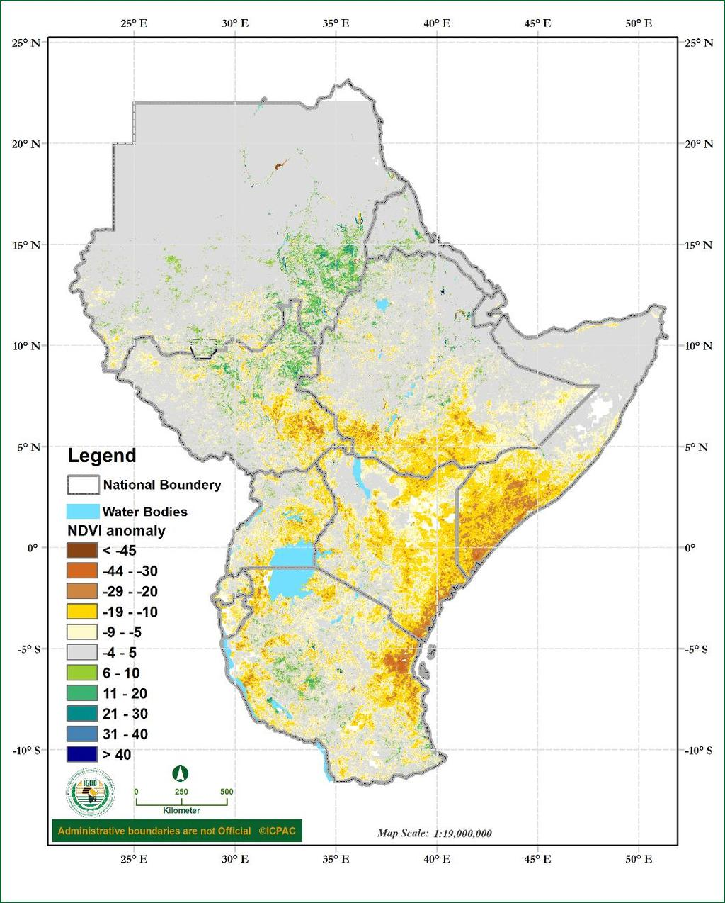Figure 9: Normalized Difference Vegetation Index (NDVI) of October to December 2016 over the Greater Horn of Africa Impacts of observed climate conditions during October to December 2016 During the