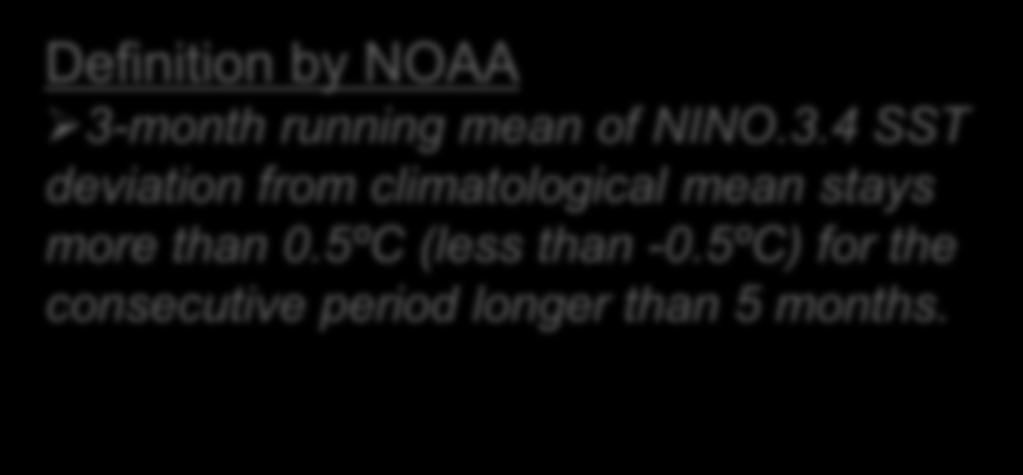 150-90W, 5N-5S Definition by NOAA 3-month running mean of NINO.3.4 SST deviation from climatological mean stays more than 0.5ºC (less than -0.