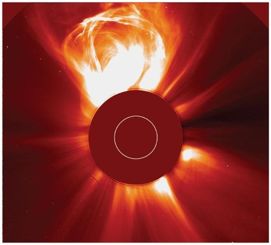 Coronal mass ejections send bursts of energetic charged particles out through the solar