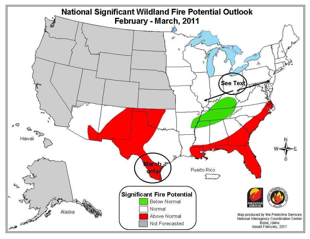 Two fire potential forecasts for the Eastern, Southern and Southwest Geographic Areas were produced; one for February-March and another for April-June.