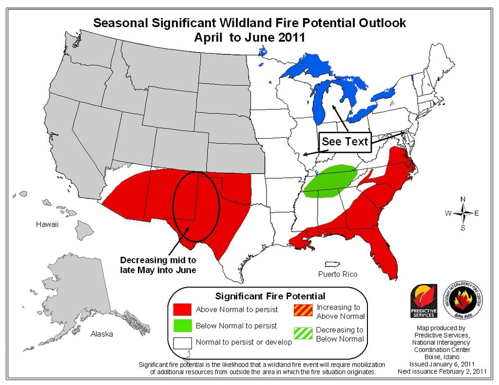 Significant Fire Potential Forecasts (February March and April June, 2011) The left map below shows the significant fire potential forecast for the Eastern, Southern and Southwest Geographic Areas