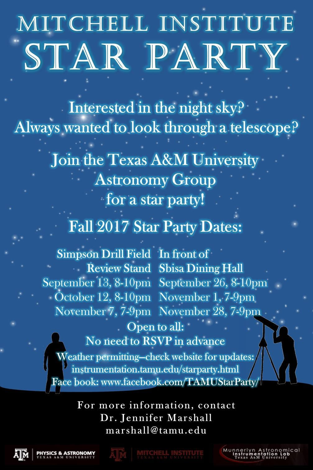 Reminders Star party Thursday