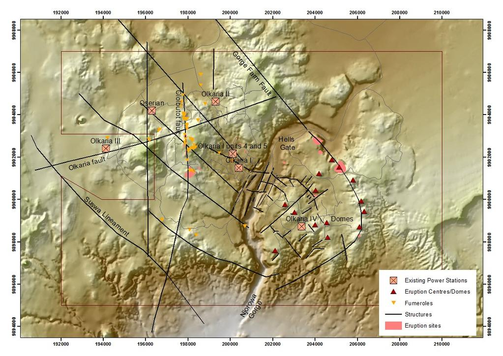 Figure 2: Map showing s geothermal concession area in the Olkaria volcanic complex, extending up to Lake Naivasha.