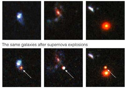 Supernovae in very distant galaxies BEFORE White dwarf supernovae Carbon fusion