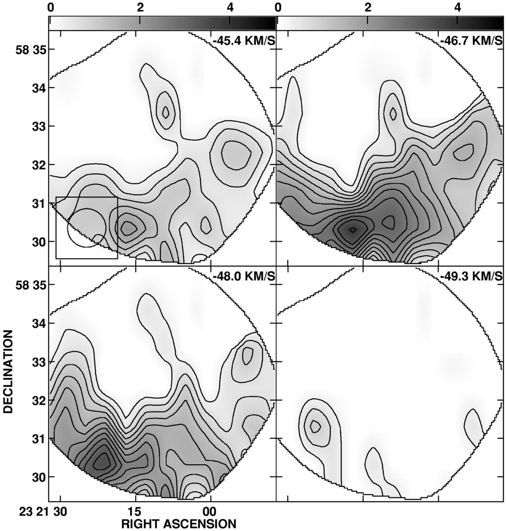 766 KANTHARIA, ANANTHARAMAIAH, & PAYNE Vol. 506 FIG. 9.ÈVariation in observed 12CO emission across Cas A at di erent radial velocities. The gray-scale Ñux ranges from 0 to 5 K.