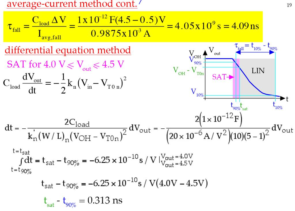Example 2:! Consider a CMOS inverter with C load =1pF and V DD =5V. The nmos transistor has V T0n =1V, k n =20uA/V 2, and W/ L=10.! Use the differential equation method to calculate the fall time.