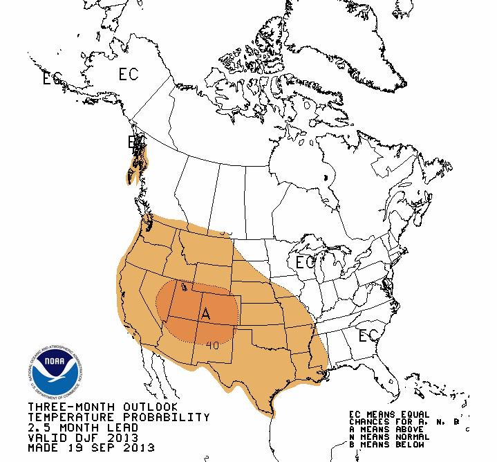 Temperature Outlook December-January-February Note: areas in orange are expected to