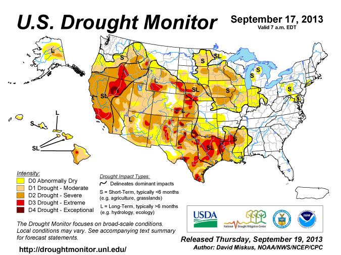 U.S. Drought Monitor As of Tuesday, September 17 Note: areas in orange are expected