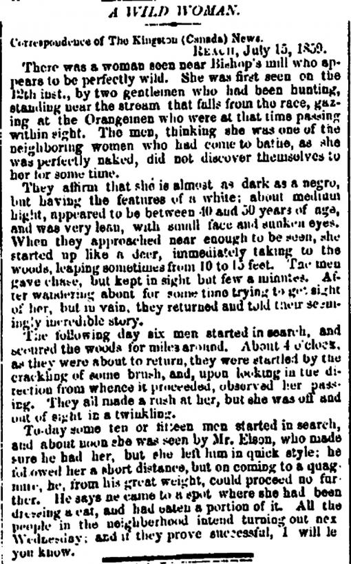 Think About: How does this article from the The Kingston News, July 15 1859, affect your reading of Lusus Naturae? Discuss two things.