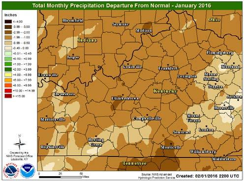 01 inches, 2.23 inches below normal; Lexington 1.24 inches, 1.96 inches below normal; Frankfort 1.45 inches, 1.81 inches below normal; Bowling Green 1.81 inches, 1.80 inches below normal.