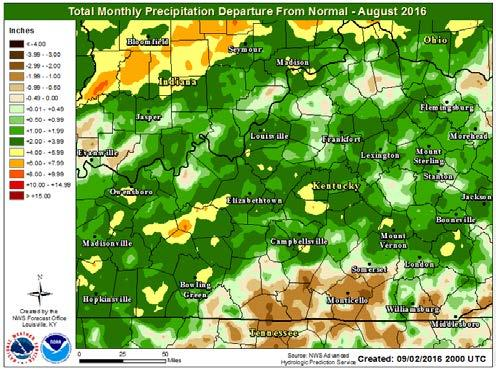 August 2016 Erin Rau, Assistant Hydrologist September 8, 2016 August precipitation was one to three inches above normal in most locations across the HSA. The wettest spot was in Grayson County, KY.