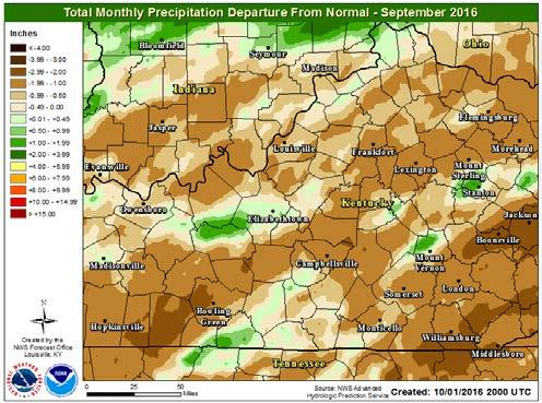 Specific rainfall amounts for area airports are: Louisville 2.28 inches, 0.77 inches below normal; Lexington 1.67 inches, 1.24 inches below normal; Frankfort 2.05 inches, 1.