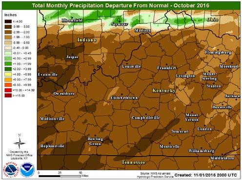 83 inches, 2.30 inches below normal; Frankfort 0.65 inches, 2.59 inches below normal; Bowling Green 0.56 inches, 2.82 inches below normal. October 2016 Oct.
