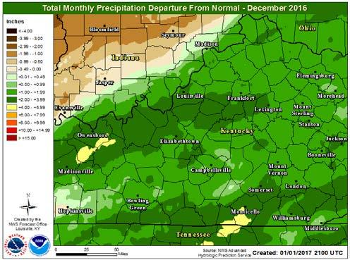 Most of the region saw between 4-8 inches of rain, which is generally 1-4 inches above normal for December. The only area near or slightly below normal was a few counties in southern IN.