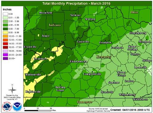 March 2016 April 7, 2016 March was overall a warmer than normal across the region and wetter than normal north of a line from approximately Bowling Green, KY to Lexington, KY.