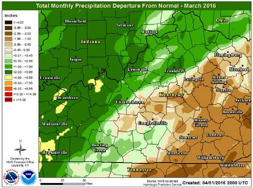 Specific rainfall amounts for area airports are: Louisville 5.50 inches, 1.33 inches above normal; Lexington 2.79 inches, 1.28 inches below normal; Frankfort 6.08 inches, 1.
