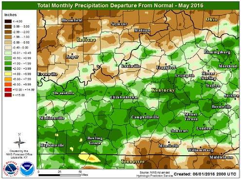 Rainfall for the month ended up mainly above normal south of the Bluegrass Parkway in KY, with the exception of the Lake Cumberland region.