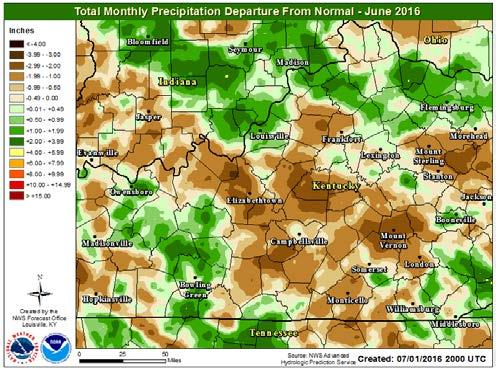 Much of central Kentucky ended up drier than normal for the month while much of southern Indiana ended up wetter than normal. Specific patterns were difficult to discern.