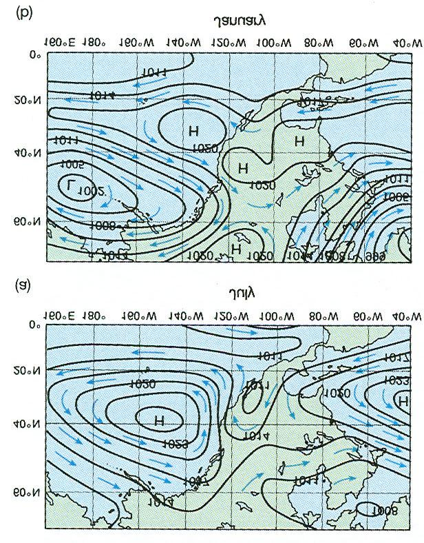 Chapter 2 - pg. 8 Figure 2.8 Northern Hemisphere (a) Summer - Air flows clockwise around dominant oceanic high pressure cells; (b) Winter Air flows counterclockwise around dominant low pressure cells.