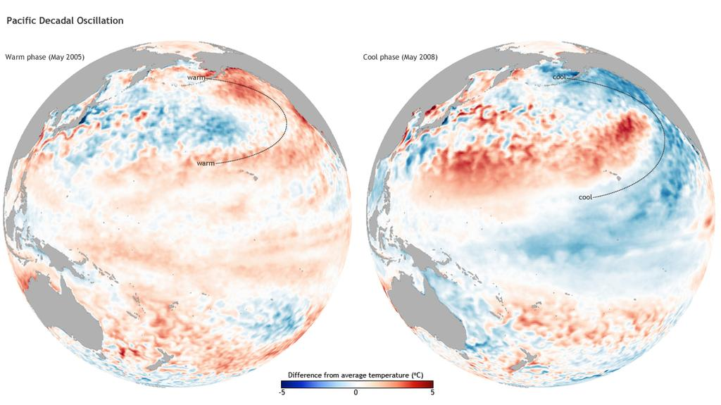 Ocean Circulations Oceans flip between warm phases and cool phases Pacific, Atlantic oscillations