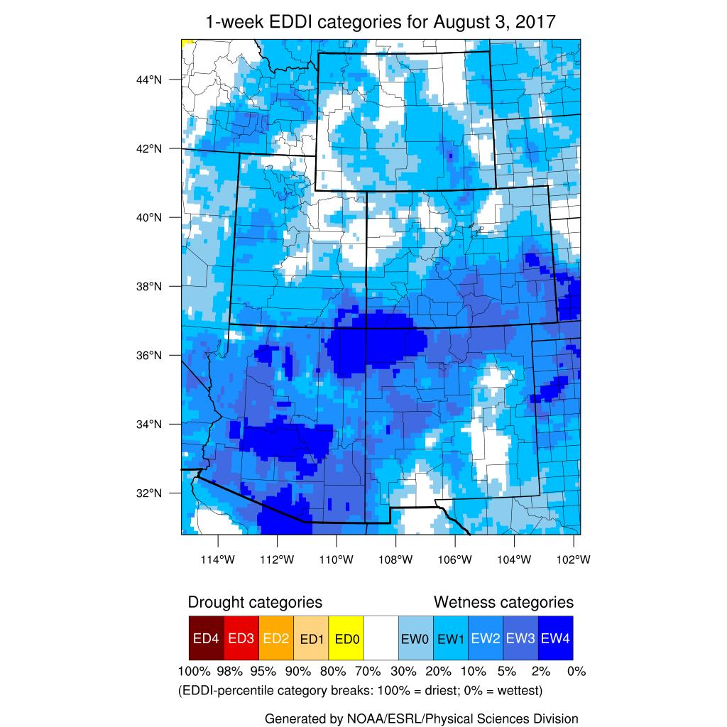 The above images are of reference evapotranspiration (ET) from CoAgMET sites across Colorado. Reference ET assumes the amount of water that will evaporate from a well-irrigated crop.