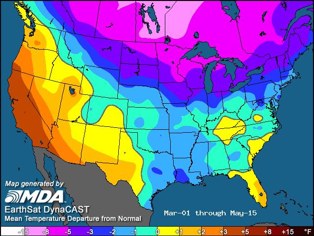 half of May warmer/drier in southern corn belt, but still cool and wet in