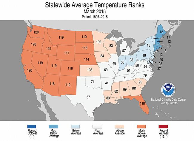 March Temperature Recap The pattern shows a clear ridge trough pattern across the country.