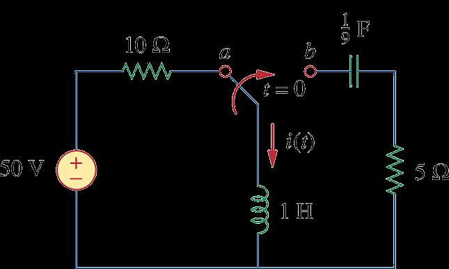 Example The circuit shown below has reached steady state at t = -.