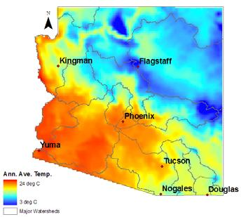 Annual Average Arizona Temperatures Background on AZ Climate Annual