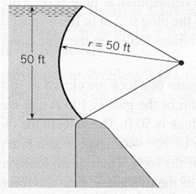 25 Determine the hydrostatic force vector (in lbf) acting on the radial gate if the gate is 40 ft long (normal to the page).
