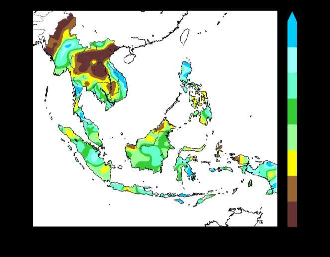Most of the rainfall in November 2017 was recorded over the southern ASEAN region. The rainfall distribution for November 2017 is shown in Figure 1.