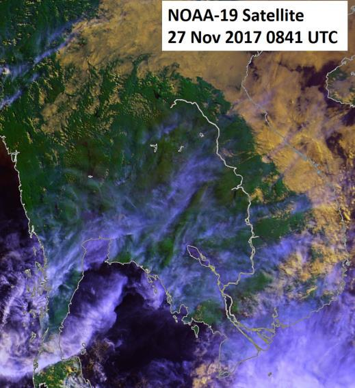 Figure 7: NOAA-19 satellite image on 27 Nov 2017 shows dry and fine