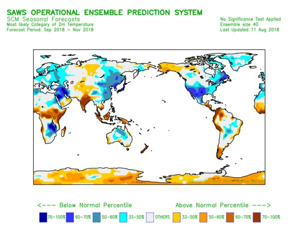 Figure 2: September-October-November global prediction for average temperature probabilities. It is worth mentioning that the SCM levels of skill for the Niño 3.