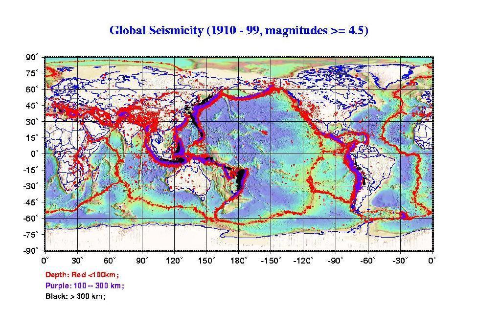 Earthquakes by depth.