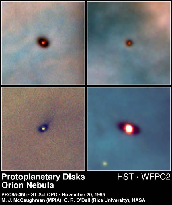 Protoplanetary Disks in the Orion Nebula Dusty disk seen in silhouette against background emission nebula