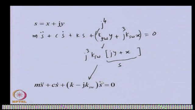 direction equation of motion. And if you see the y direction equation of motion, here the stiffness is negative.
