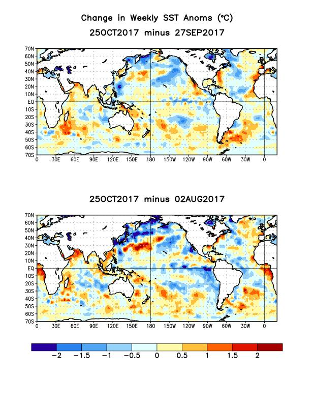 Change in Weekly SST Departures over the Last Four Weeks During the last four weeks,