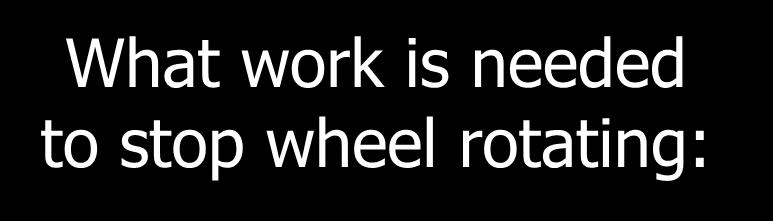 Applying the Work-Energy Theorem: What work is needed to stop wheel rotating: Work = K r F R 4 kg o 60 rad/s R = 0.