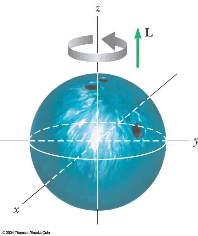 Angular Momentum of a Bowling Ball The momentum of inertia of the ball is 2/5MR 2 The angular