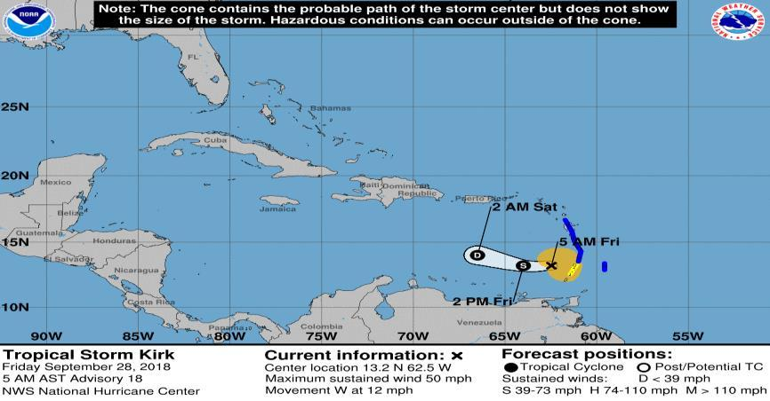 Tropical Outlook Atlantic Tropical Storm Kirk (Advisory #18 as of 5:00 a.m. EDT) 110 miles WSW of St.