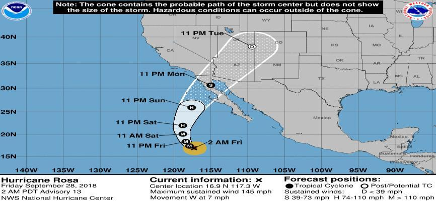 Tropical Outlook Eastern Pacific Hurricane Rosa (Advisory #13 as of 5:00 a.m.
