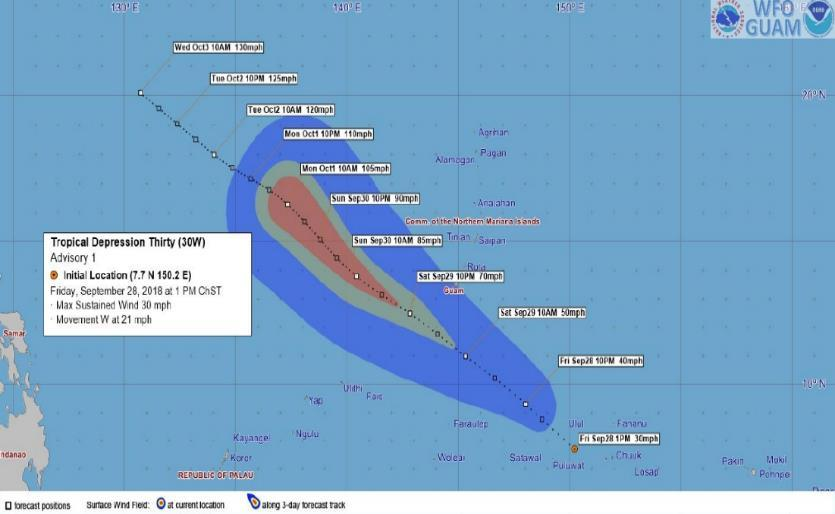 Tropical Outlook Western Pacific Tropical Depression 30W(Advisory #1A as of 5:00 a.m.