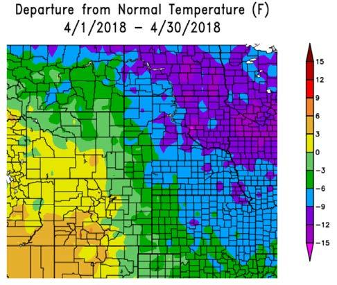 Figure 5. April 2018 and February-March-April 2018 Departure from Normal Temperature (deg F). Source: High Plains Regional Climate Center, http://www.hprcc.unl.edu/.