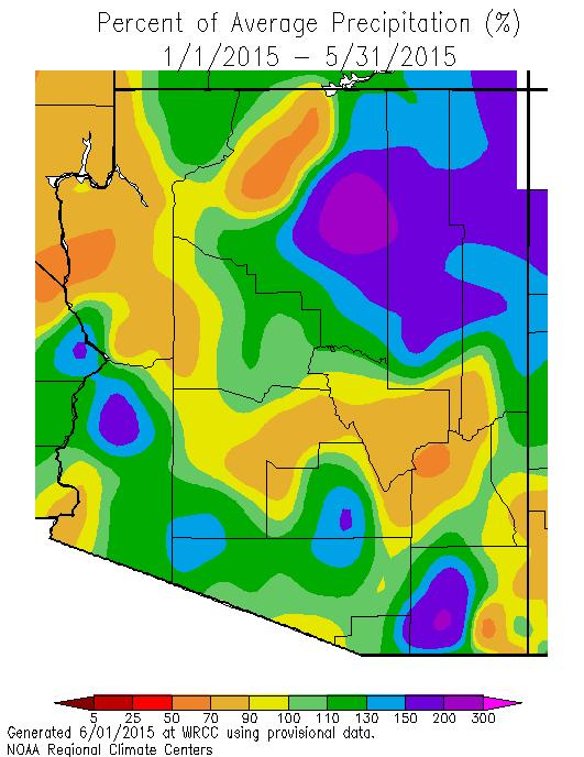 Western Pinal, southern Gila and most of Graham county have been 0-3 o F cooler than normal.