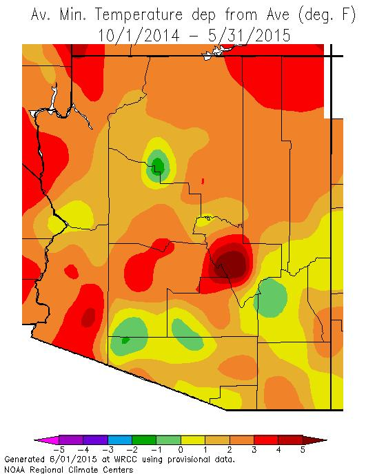 2015 Water Year The water year minimum temperatures have continued 1-4 o F warmer than average statewide, with Gila County as much as 5 o F warmer than