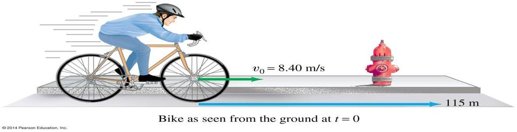 Example 8-7 Bicycle. A bicycle slows down uniformly form v o =8.40m/s to rest over a distance of 115m. Each wheel and tire has an overall diameter of 68.0cm.