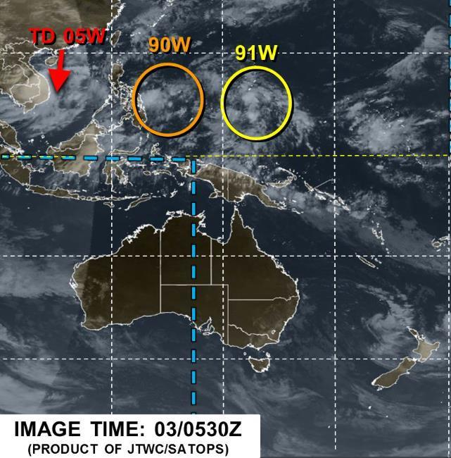 Tropical Outlook Western Pacific Invest 91W (as of 2:00 am EDT) Located 155 miles SSE