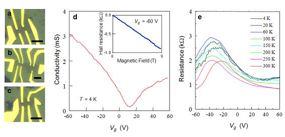 Measuring electric transport properties in single layer graphene samples Fig. S6. Single layer graphene device images and their electric characteristics. a-c.