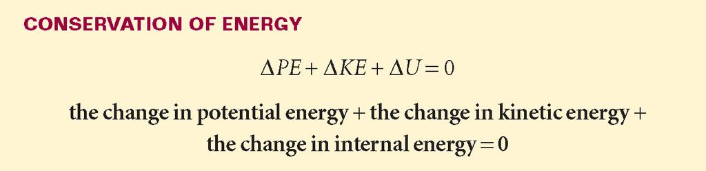 Heat Section 2 Energy Conservation Any loss of one type is balanced by a gain in the other types of energy.