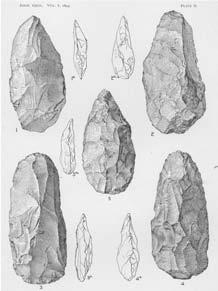 Wright s (1890) composite image of the Newcomerstown paleolith alongside a paleolithic biface (reduced to one-half size) from Amiens, France; right, Holmes (1893b) depiction of the Newcomerstown